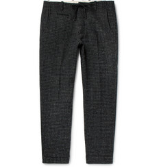 MAN 1924 Charcoal Harris Houndstooth Wool Drawstring Suit Trousers