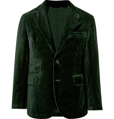 MAN 1924 Bottle-Green Slim-Fit Unstructured Cotton-Velvet Blazer