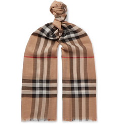 Burberry Checked Fringed Wool and Silk-Blend Scarf