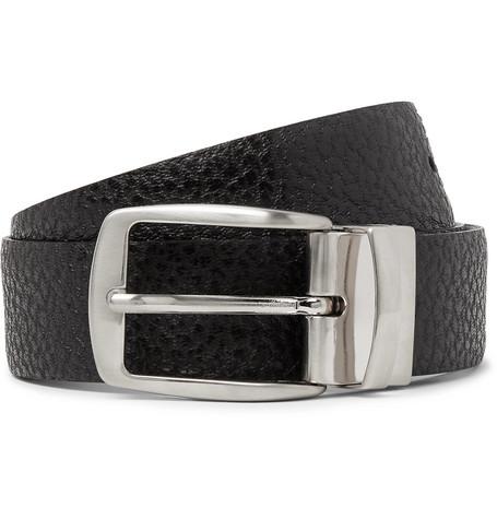 Isaia 3cm Black Reversible Leather Belt