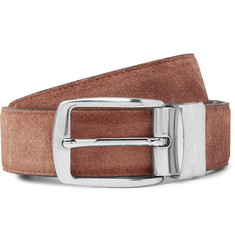 Isaia 3cm Brown Reversible Leather and Suede Belt