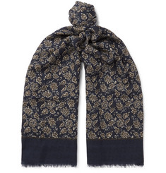 Isaia Fringed Floral-Print Cashmere and Wool-Blend Scarf