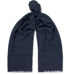 Isaia Fringed Printed Cashmere and Wool-Blend Scarf