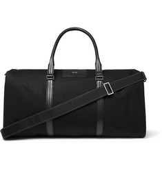 Hugo Boss Meridian Cross-Grain Leather-Trimmed Canvas Suit Carrier and Holdall