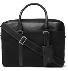 Hugo Boss - Meridian Cross-Grain Leather Trimmed Canvas Briefcase
