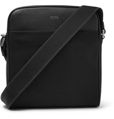 Hugo Boss Meridian Cross-Grain Leather-Trimmed Canvas Messenger Bag