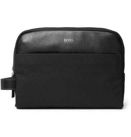 Meridian Cross Grain Leather Trimmed Nylon Wash Bag by Hugo Boss