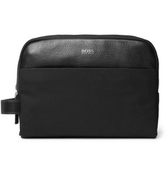 Hugo Boss Meridian Cross-Grain Leather Trimmed Nylon Wash Bag