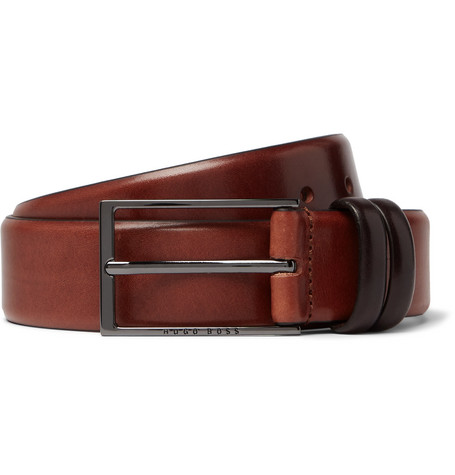 3.5cm Brown Carmello Leather Belt