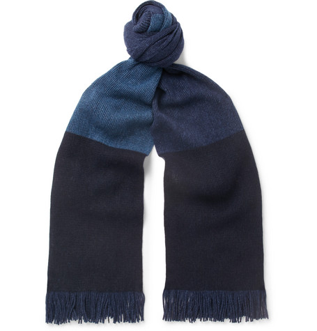 COLOUR-BLOCK FRINGED WOOL-BLEND SCARF from MR PORTER