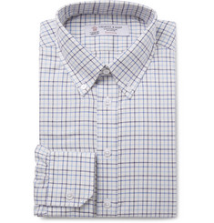 Turnbull & Asser Blue Button-Down Collar Checked Cotton-Twill Shirt