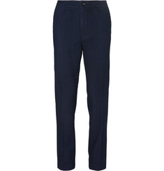 Ermenegildo Zegna Navy Tapered Cotton Suit Trousers