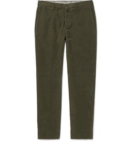 Lardini Slim-fit Felted-cotton Trousers - Army Green