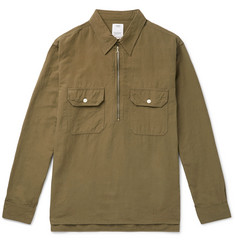 visvim Cotton and Linen-Blend Half-Zip Shirt