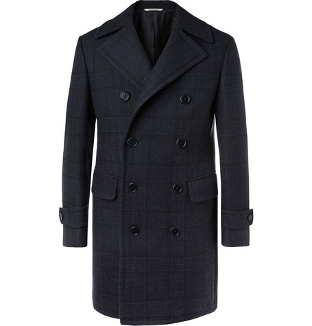 Kei Slim Fit Double Breasted Checked Wool Overcoat by Canali