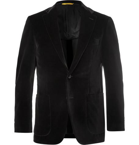 Black Kei Slim Fit Cotton Velvet Blazer by Canali