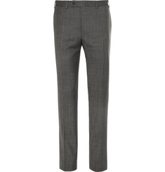 Canali Grey Slim-Fit Tapered Nailhead Wool Trousers