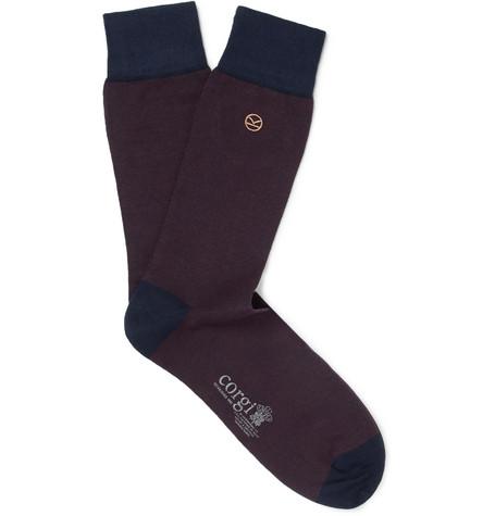 KINGSMAN + Corgi Striped Cotton-Blend Socks