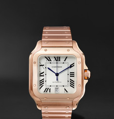 Cartier Santos Automatic 39.8mm 18-Karat Pink Gold Interchangeable Alligator Watch