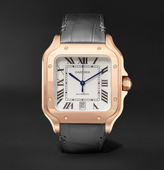 Cartier - Santos Automatic 39.8mm 18-Karat Rose Gold Interchangeable Alligator and Leather Watch