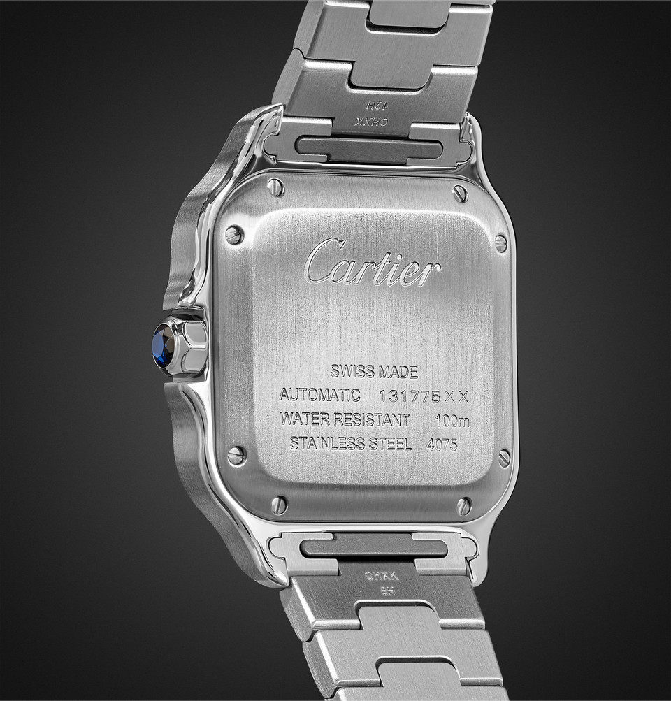 Cartier Santos Automatic 39.8mm 18-Karat Gold Interchangeable Stainless Steel and Leather Watch