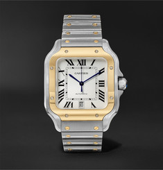 Cartier - Santos Automatic 39.8mm 18-Karat Gold Interchangeable Stainless Steel and Leather Watch