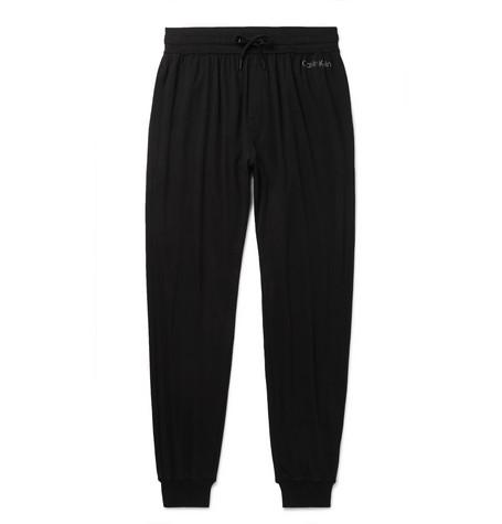 CALVIN KLEIN UNDERWEAR | Calvin Klein Underwear - Tapered Stretch Cotton And Modal-blend Sweatpants - Black | Goxip