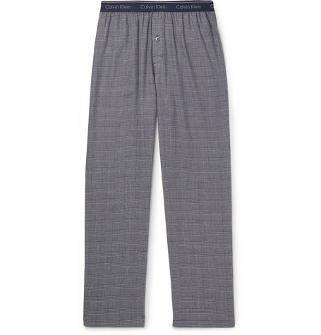 Calvin Klein Underwear – Prince Of Wales Checked Cotton-blend Pyjama Trousers – Navy