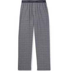 Prince Of Wales Checked Cotton-blend Pyjama Trousers - Navy