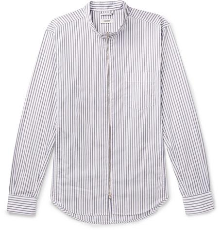 Striped Cotton Poplin Zip Up Shirt by Très Bien
