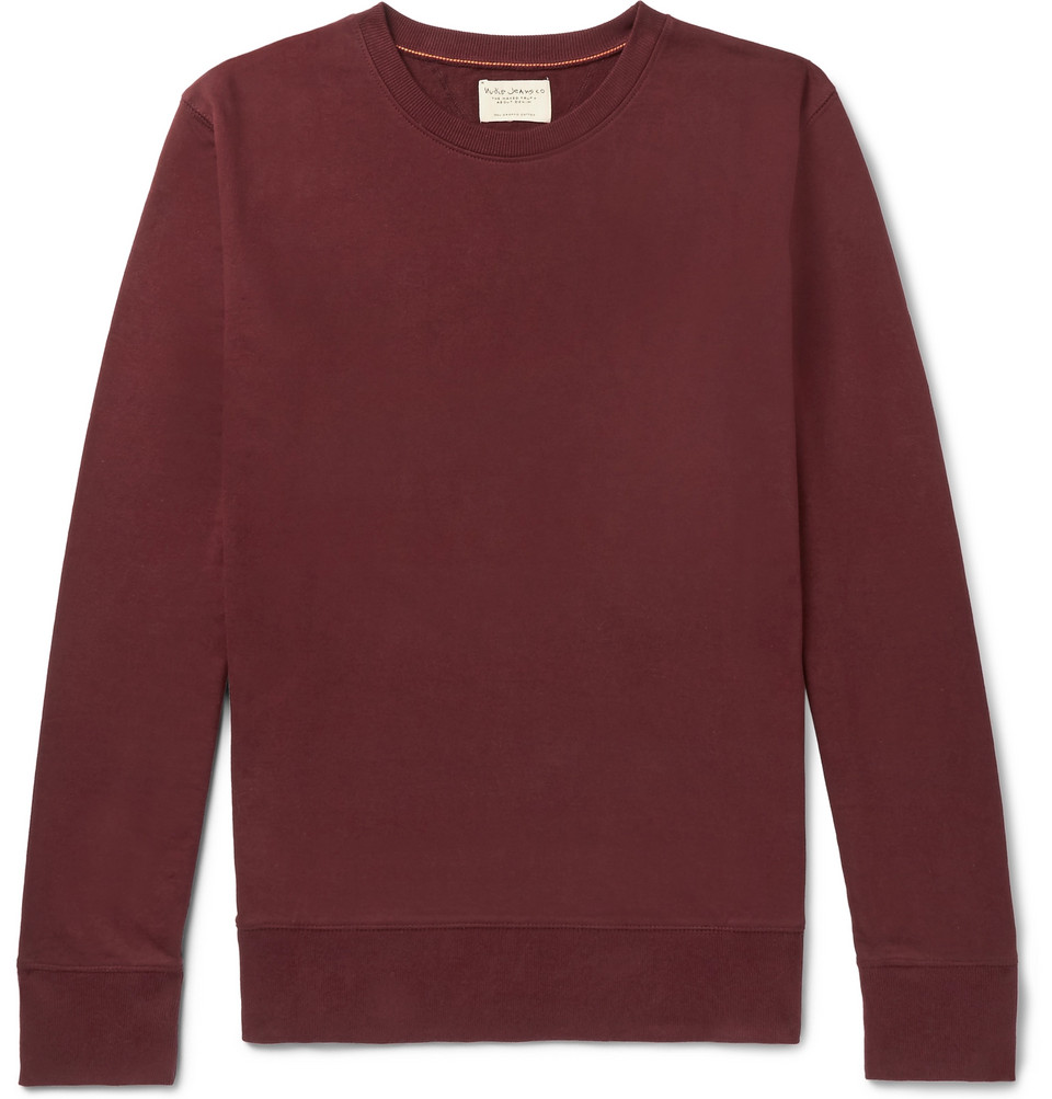 Bild på Evert Loopback Organic Cotton-jersey Sweatshirt - Burgundy