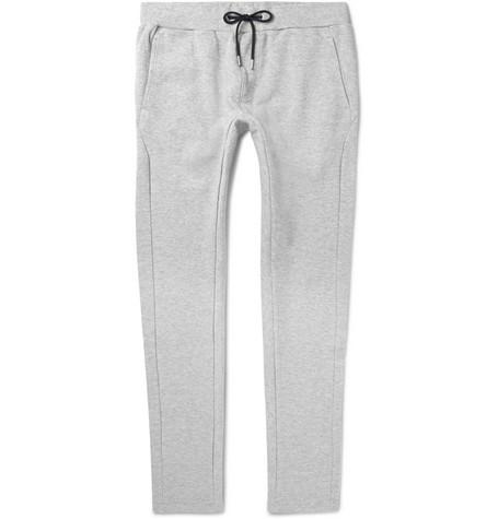 ENLIST Slim-Fit Tapered Cotton-Piqué Sweatpants - Light Gray