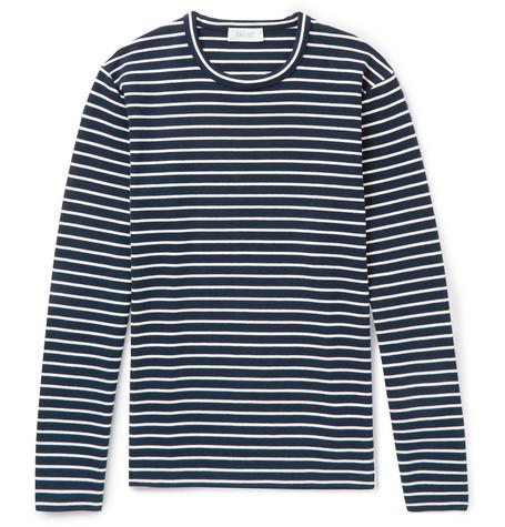 ENLIST Oscar Striped Stretch-Cotton Jersey T-Shirt - Navy