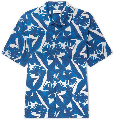 ENLIST Printed Cotton-Poplin Shirt - Blue