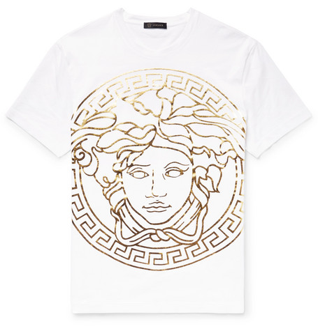Metallic Printed Cotton Jersey T Shirt by Versace