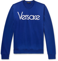 Versace Logo-Embroidered Loopback Cotton-Jersey Sweatshirt