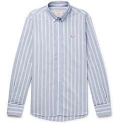 Maison Kitsuné Slim-Fit Button-Down Collar Striped Cotton-Poplin Shirt