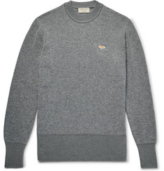 Maison Kitsuné Logo-Appliquéd Two-Tone Wool Sweater