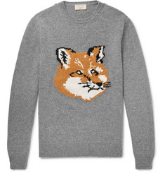 Maison Kitsuné Fox-Intarsia Wool Sweater