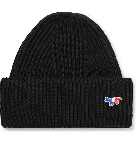 21c7bc5c4a9 Maison Kitsuné - Logo-Appliquéd Ribbed Wool Beanie