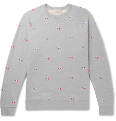 Maison Kitsuné Embroidered Mélange Loopback Cotton-Jersey Sweatshirt