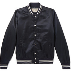 Maison Kitsuné Slim-Fit Appliquéd Satin Bomber Jacket