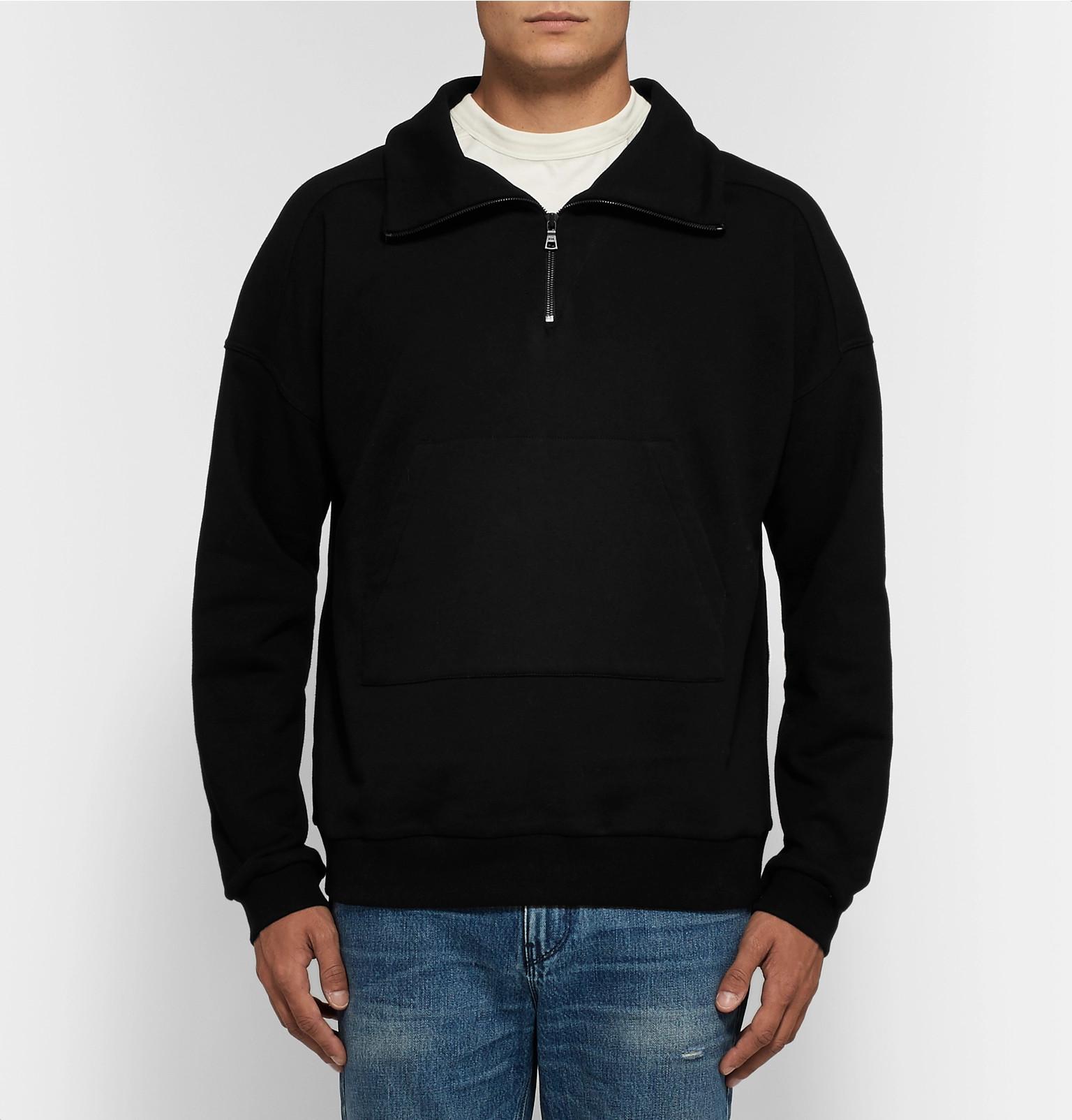 Zip Jersey Half Rtaloopback Sweatshirt Cotton qBn8Oznt