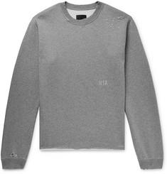 846deb893ebe RtA Distressed Printed Mélange Fleece-Back Cotton-Blend Jersey Sweatshirt