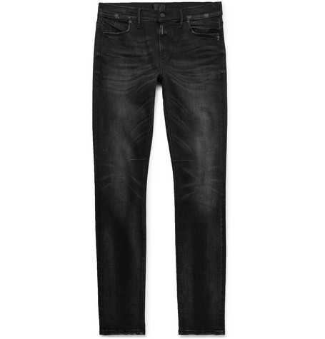 Skinny Fit Distressed Stretch Denim Jeans by Rt A