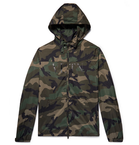 VALENTINO CAMOUFLAGE-PRINT SHELL HOODED JACKET