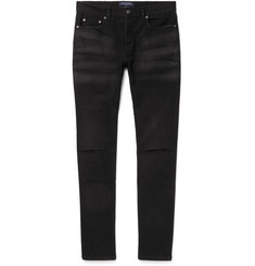 Valentino - Distressed Marble-Washed Stretch-Denim Jeans