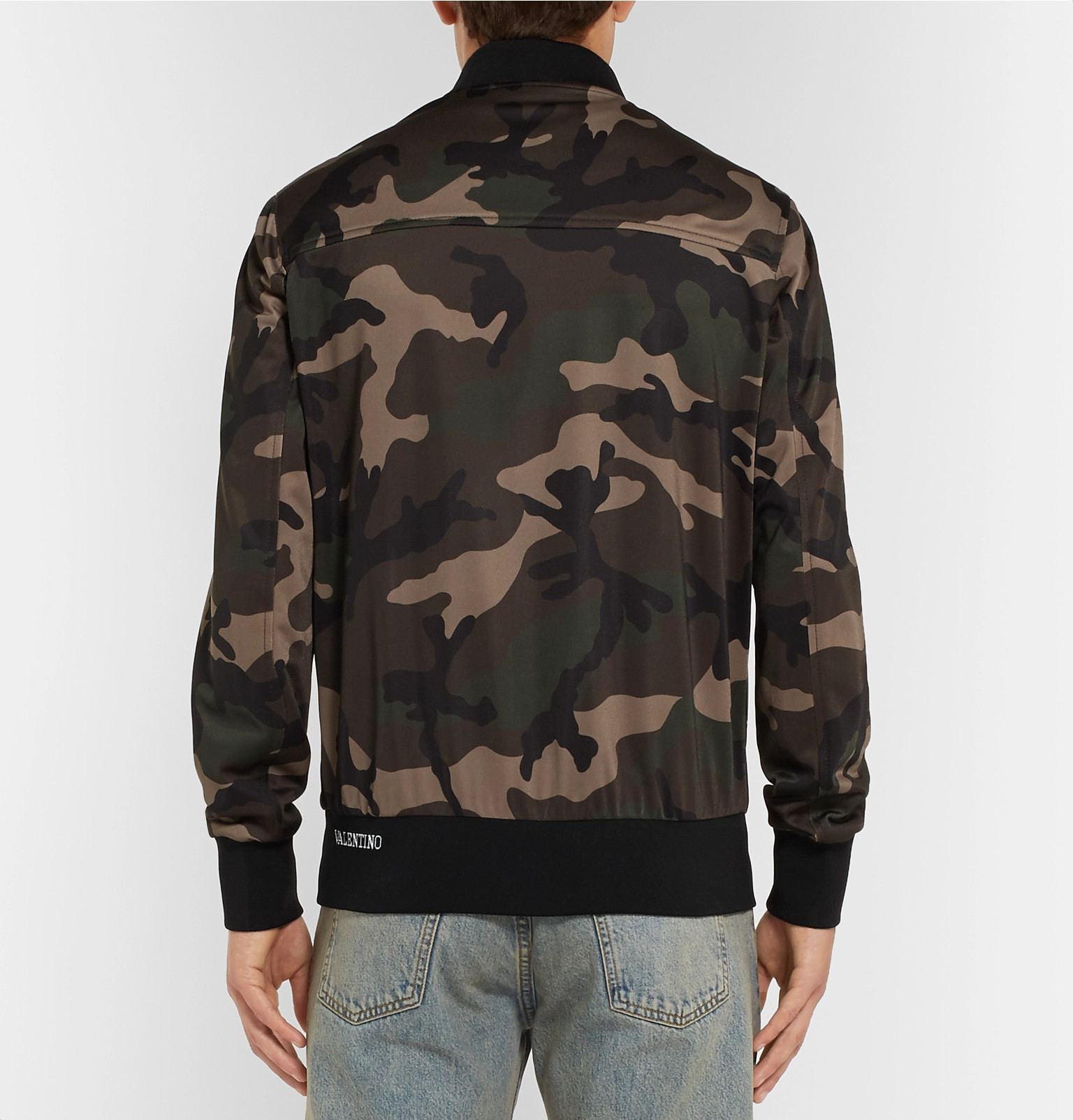 Bomber Jersey Valentinostriped Jacket Camouflage Print Tech rrYIy
