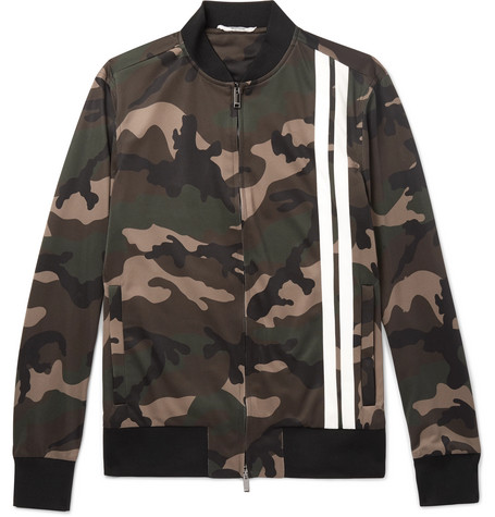 Striped Camouflage Print Tech Jersey Bomber Jacket by Valentino