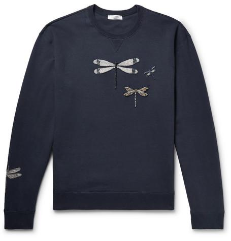 Blend Loopback Sweatshirt Jersey Valentino Embellished Cotton nzWZ75tx